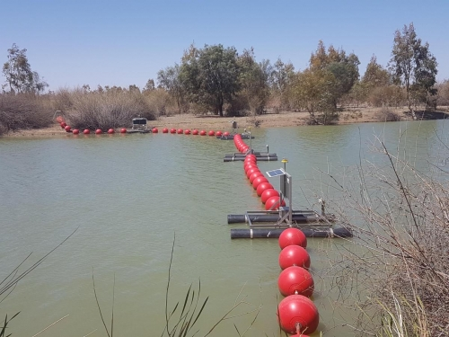 Red Round Buoys, Floating Barrier on Lake Victoria in SA -1