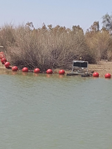 Red Round Buoys, Floating Barrier on Lake Victoria in SA -2